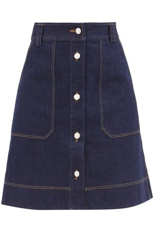 Lee Mathews Quincy Topstitched Denim Skirt - Womens - Dark Denim