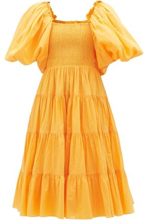 AJE Cherished Puff-sleeve Cotton Midi Dress - Womens