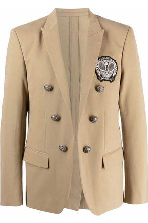 Balmain Men Blazers - Badge double-breasted blazer - Neutrals
