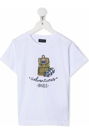 MONNALISA Boys T-shirts - Backpack-embroidered cotton T-shirt