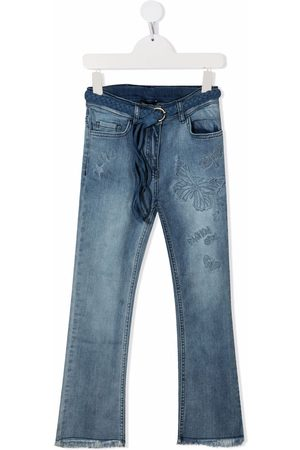 MONNALISA TEEN butterfly-embroidered straight jeans