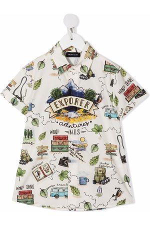 MONNALISA Explorer-print cotton shirt - Neutrals
