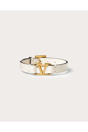 VALENTINO GARAVANI Women Bracelets - Vlogo Signature Calfskin Bracelet Women Light Ivory 100% Pelle Di Vitello - Bos Taurus OneSize
