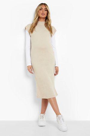 Boohoo Womens Maternity Knit High Neck Midi Dress - - 4
