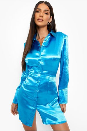 Boohoo Women Casual Dresses - Womens Satin Mini Shirt Dress - - 4
