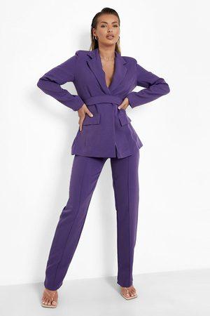 Boohoo Womens Pin Tuck Tailored Straight Leg Pants - - 4