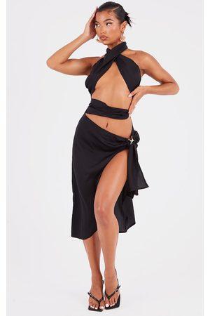 PRETTYLITTLETHING Women Halterneck Dresses - Woven Halterneck Tie Skirt Detail Midi Dress