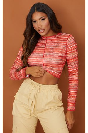 PRETTYLITTLETHING Women Crop Tops - Recycled Space Dye Rib Frill Edge Crop Top