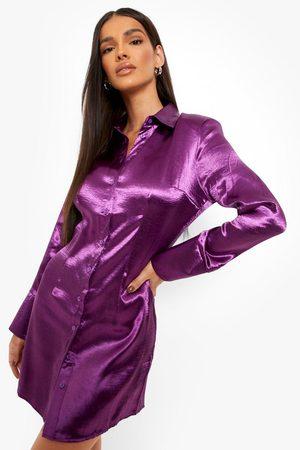 Boohoo Womens Satin Mini Shirt Dress - - 4