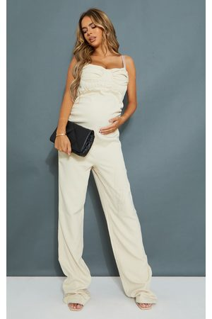PRETTYLITTLETHING Women Jumpsuits - Maternity Stone Tailored Strappy Jumpsuit