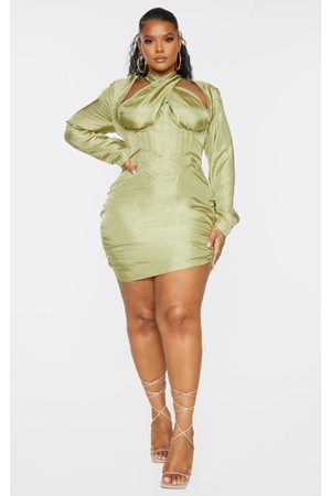 PRETTYLITTLETHING Women Bodycon Dresses - Plus Olive Cut Out Cross Front Corset Bodycon Dress