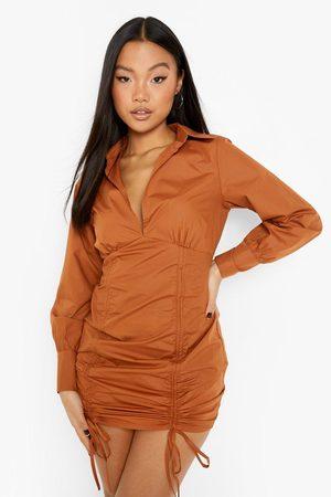 Boohoo Womens Petite Ruched Detail Puff Sleeve Mini Dress - - 2
