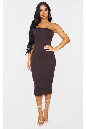 PRETTYLITTLETHING Women Casual Dresses - Petite Chocolate Bandeau Jersey Midi Dress