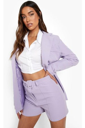 Boohoo Women Culottes - Womens Seam Front Belted Tailored Shorts - - 4
