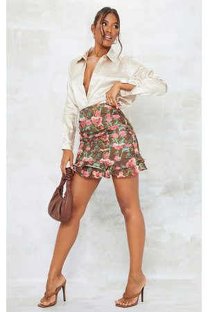 PRETTYLITTLETHING Women Party Dresses - Floral Satin Ruched Frill Mini Skirt