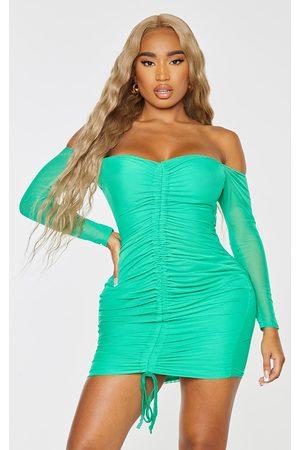 PRETTYLITTLETHING Women Bodycon Dresses - Shape Bright Mesh Ruched Bardot Bodycon Dress