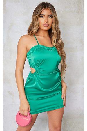 PRETTYLITTLETHING Satin Strappy Waist Cut Out Bodycon Dress
