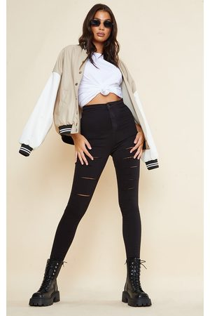 PRETTYLITTLETHING Women Skinny - Tall Rip Ripped Disco Skinny Jeans