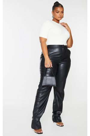 PRETTYLITTLETHING Plus Faux Leather Tie Ankle Straight Leg Pants