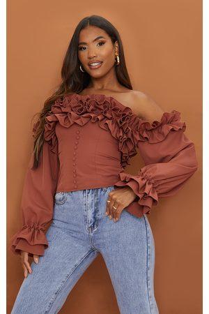 PRETTYLITTLETHING Women Strapless Tops - Chocolate Ruffle Hem Off Shoulder Long Sleeve Top