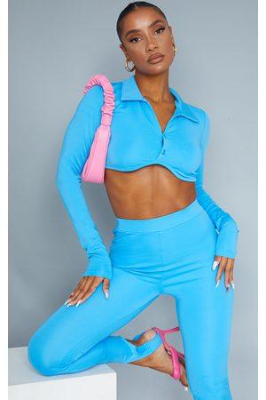 PRETTYLITTLETHING Women Crop Tops - Bright Stretch Scuba Underbust Long Sleeve Crop Top