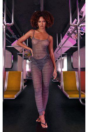 PRETTYLITTLETHING Women Printed Dresses - Grey Croc Printed Mesh Jumpsuit