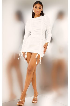 PRETTYLITTLETHING Women Bodycon Dresses - Woven Extreme Ruched Long Sleeve Bodycon Dress