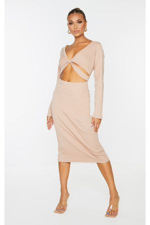 PRETTYLITTLETHING Women Long sleeves - Taupe Rib Knot Cut Out Long Sleeve Midaxi Dress