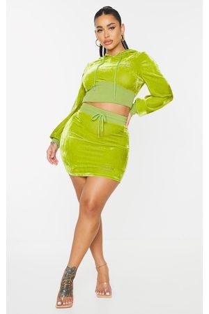PRETTYLITTLETHING Shape Olive Baby Girl Velour Bodycon Skirt