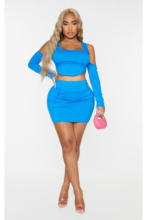 PRETTYLITTLETHING Women Bodycon Dresses - Recycled Shape Bright Cotton Overlock Detail Bodycon Skirt