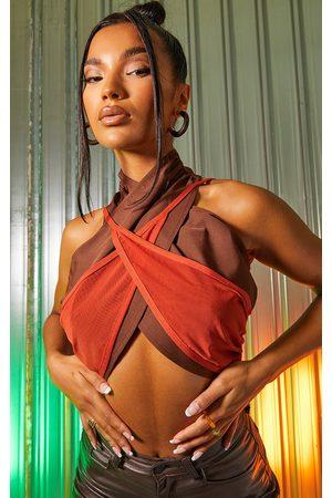 PRETTYLITTLETHING Women Halterneck Tops - Chocolate Woven Mesh Overlay Cross Front Underbust Halterneck Crop Top