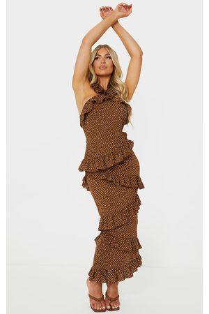 PRETTYLITTLETHING Women Halterneck Dresses - Chocolate Polka Dot Halterneck Ruffle Detail Midi Dress