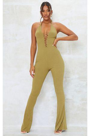 PRETTYLITTLETHING Women Halterneck Dresses - Khaki Rib Halterneck Elastic Lace Up Jumpsuit