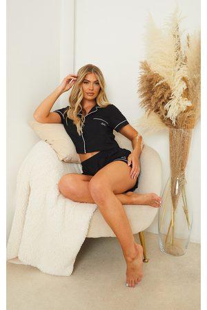 PRETTYLITTLETHING Women Bathrobes - Dreams Badge Cropped Jersey PJ Set