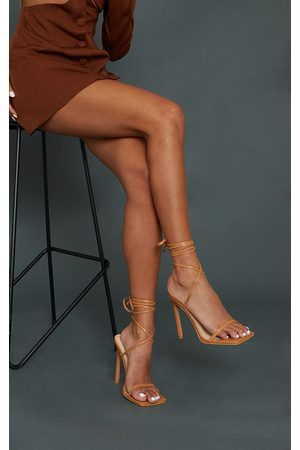 PRETTYLITTLETHING Women Heeled Sandals - Tan Square Toe Barely There Heeled Sandals