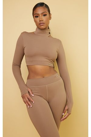 PRETTYLITTLETHING Women Long sleeves - Mocha Cold Shoulder Long Sleeve Sports Top