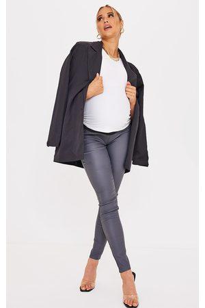 PRETTYLITTLETHING Women Skinny - Maternity Grey Coated Skinny Jeans