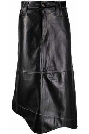 Ganni Women Leather Skirts - High-waisted leather skirt