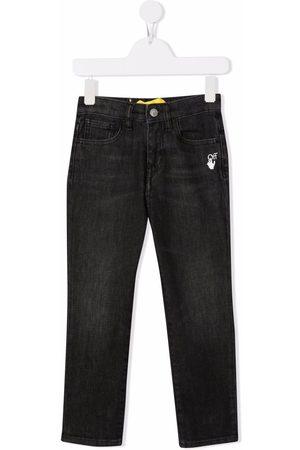 OFF-WHITE Girls Slim - Slim-Diag logo-print jeans