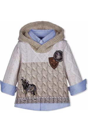 Lapin House Layered knit-print hooded shirt - Neutrals