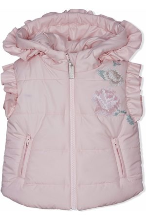Lapin House Floral-embroidered ruffle-trim gilet