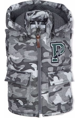 Lapin House Boys Gilets - Camouflage logo-patch padded gilet - Grey
