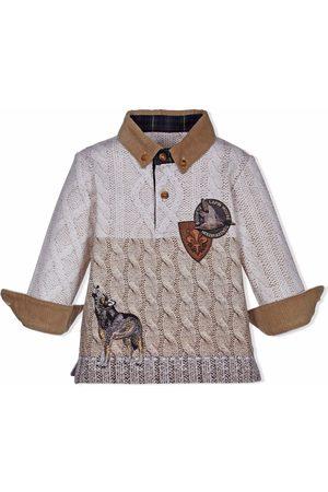 Lapin House Knit-print longsleevd polo shirt - Neutrals
