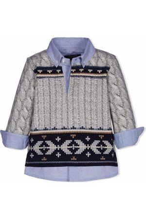 Lapin House Knit-print longsleeved shirt - Grey