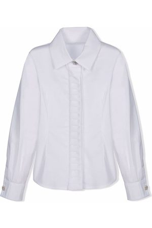 Lapin House TEEN long-sleeved crystal-button shirt