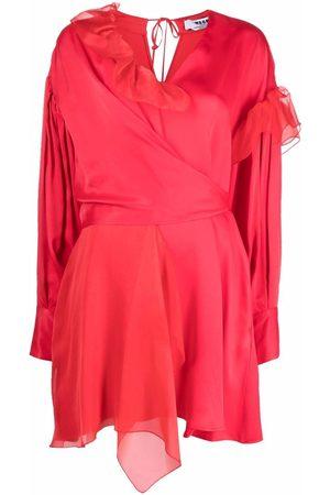 Msgm Ruffled asymmetric wrap dress