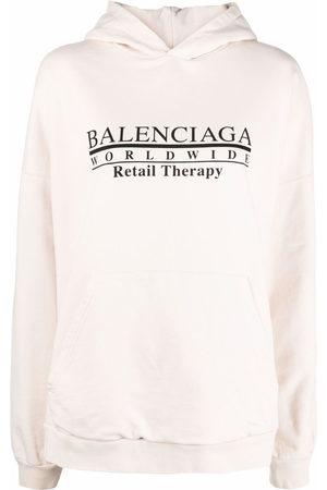 Balenciaga Hoodies - Retail Therapy logo hoodie - Neutrals