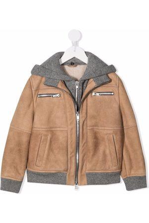 Brunello Cucinelli Hooded layered-look jacket - Neutrals