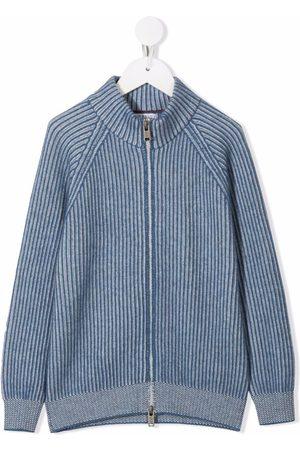 Brunello Cucinelli Boys Bomber Jackets - Ribbed cashmere-knit jacket