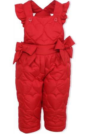 Lapin House Dungarees - Heart-quilted ruffle-trim dungarees